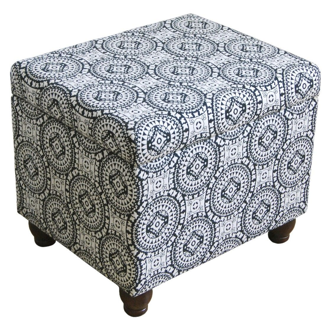 Terrific Kinfine Medium Storage Ottoman Blue White Circle Pattern Forskolin Free Trial Chair Design Images Forskolin Free Trialorg