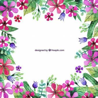 Pintados à mão fronteira flores rosa