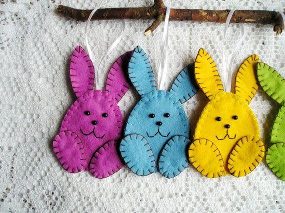 Pasqua Decorazione BELLA Set cinque uova Whit CONIGLIO da appendere