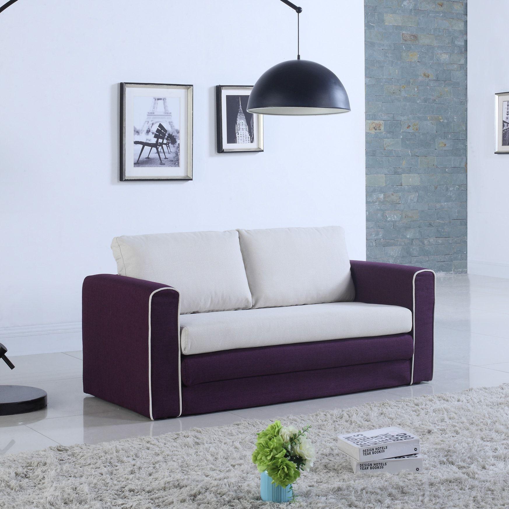 Madison modern two tone sofa bed purple