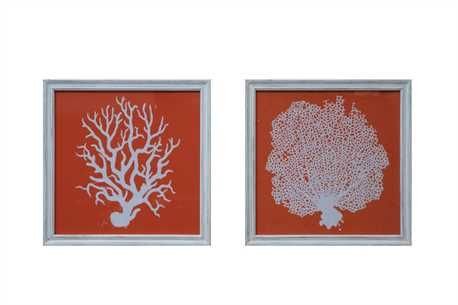 Square Wood Framed Wall Décor w/ Coral