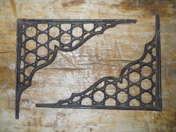 Hardware Lot 4 Antique-Style Cast Iron RUSTIC X-LARGE 13 x 13 SHELVING BRACKETS Braces