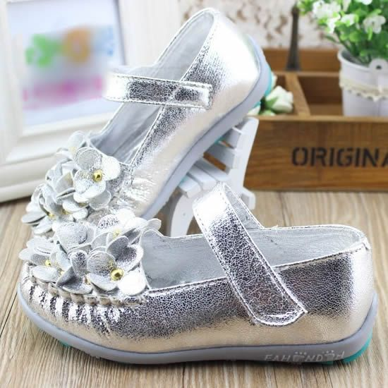Sparkly Silver Patent Leather Flower Pageant Girl Girls Dress Shoes