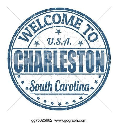 Welcome To Charleston Stamp Travel Stickers Bumper Sticker Size