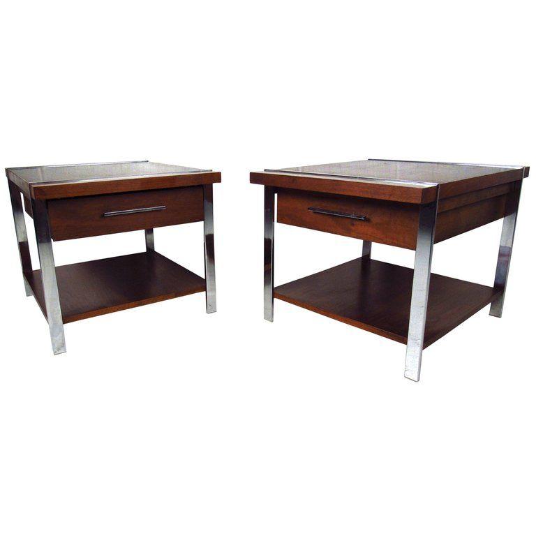 Lane Furniture Chrome Walnut Mid Century Modern American End