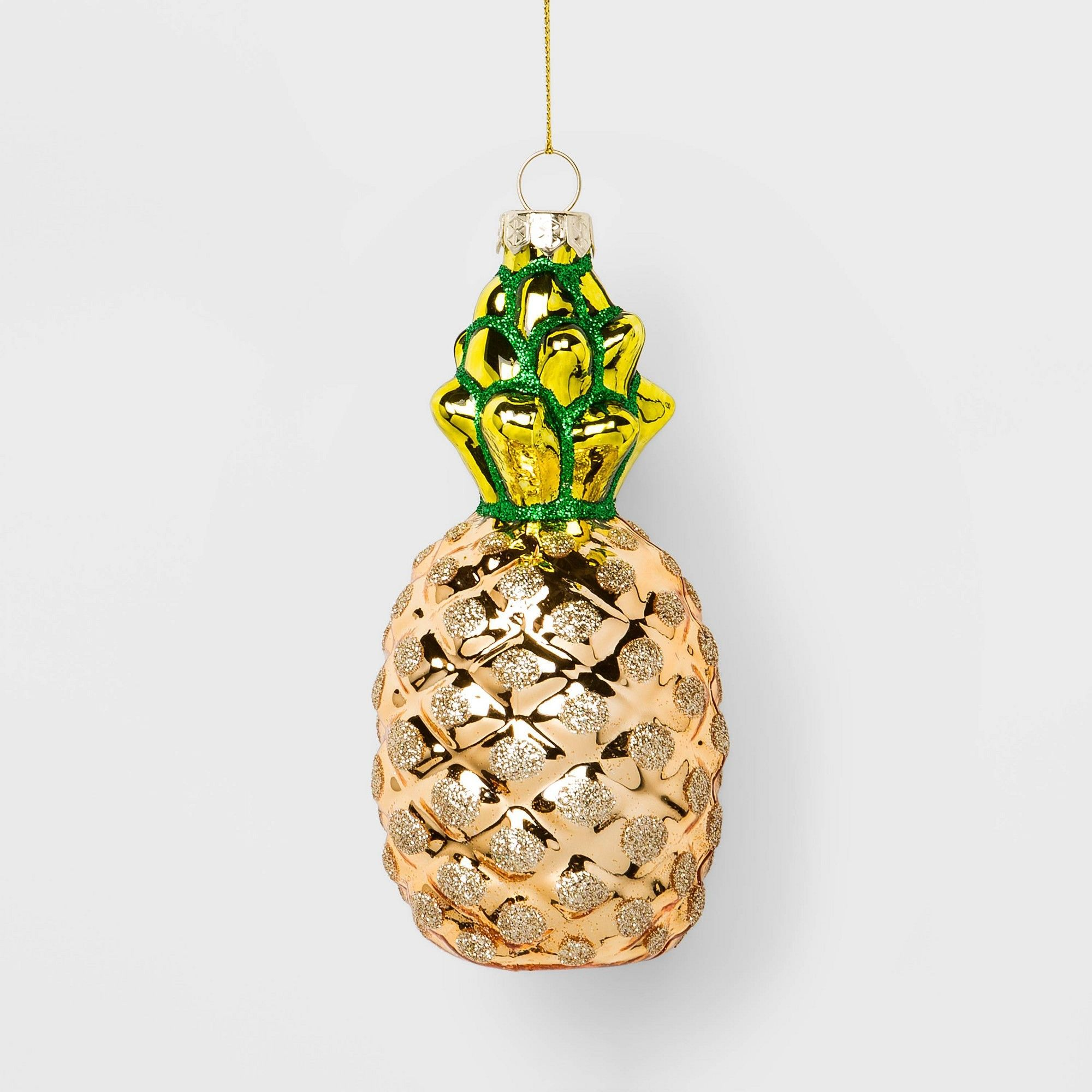Pineapple Glass Christmas Ornament Yellow
