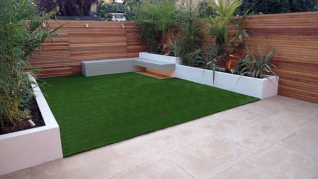 Artificial Grass Garden Designs gardens and roof terraces with artificial grass pattern Beige Limestone Paving Hardwood Privacy Screen Trellis Fence Horizontal Slats Raised Render Beds Fake Artificial Grass