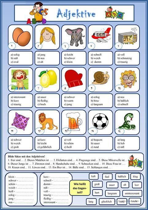 Adjektive | Angličtina | Pinterest | Multiple choice and Worksheets