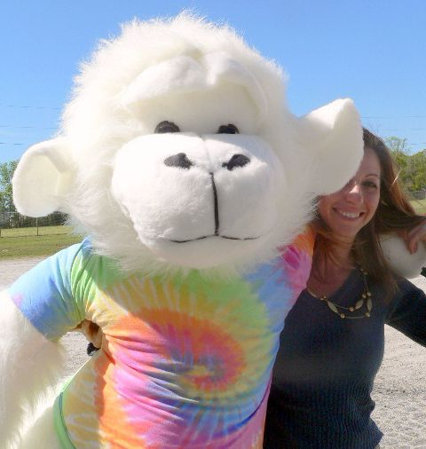 American Made Giant Stuffed White Gorilla 6 Foot Soft Big Plush Monkey  Wears Rainbow Tie Dye T Shirt
