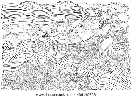 Lighthouse And Shells Seascape Coloring Book Page For Adult A4 Size Waves Sea Art Background Pattern Hand Drawn Doodle Vector