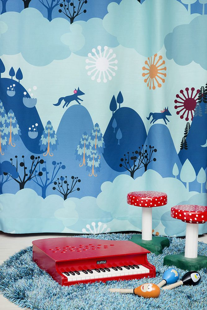 "Meri Mort, Helsinki, Finland based illustrator for Vallila Interiors ""Mimmit"" fabric collection 2015."