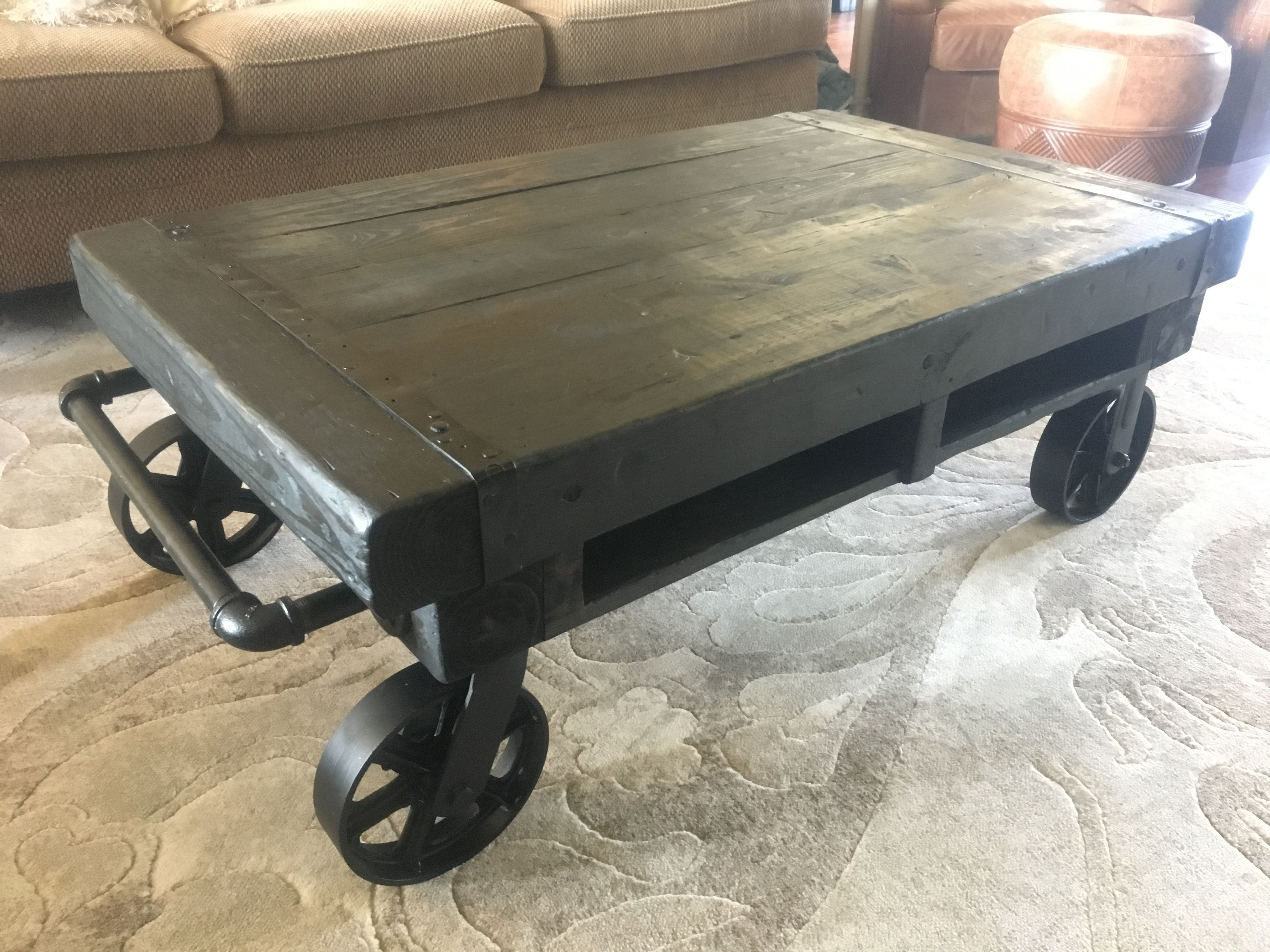 Ebony Stained Factory Cart Coffee Table With Black Metal Accents Beautiful Wine Barrel Furniture Cart Coffee Table Coffee Table