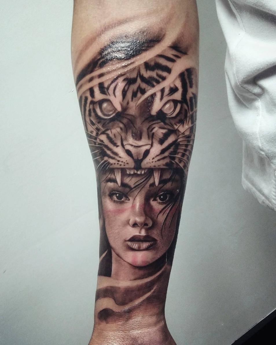 Custom Black And Grey Tattoo By Bryan Alfaro At Certified Tattoo Studios Tattoo Studio Black And Grey Tattoos Tattoo Artists