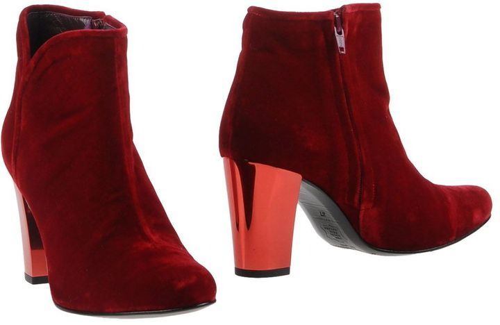 pop of red for fall | OPENING CEREMONY Velvet Ankle boots