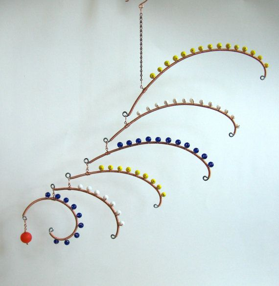 want this jewelry for my room blue white and yellow arc mobile hanging art by rocklendesigns. Black Bedroom Furniture Sets. Home Design Ideas