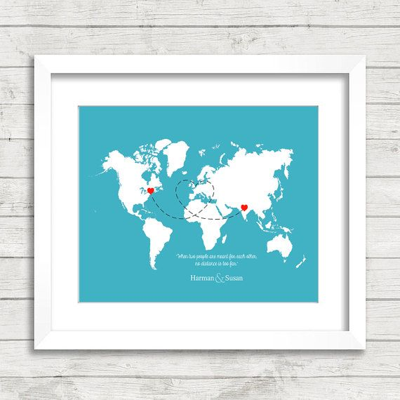 8x10 Love World Map  Long Distance Relationship  by digitaldecor1
