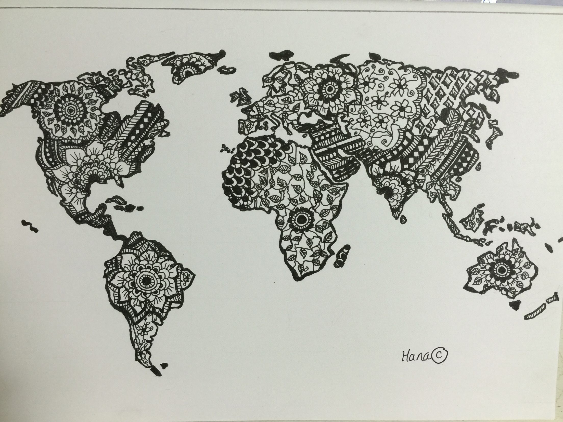 World Map Mandala Adult Colouring Page Original Drawing By Me - Mandala map of the world