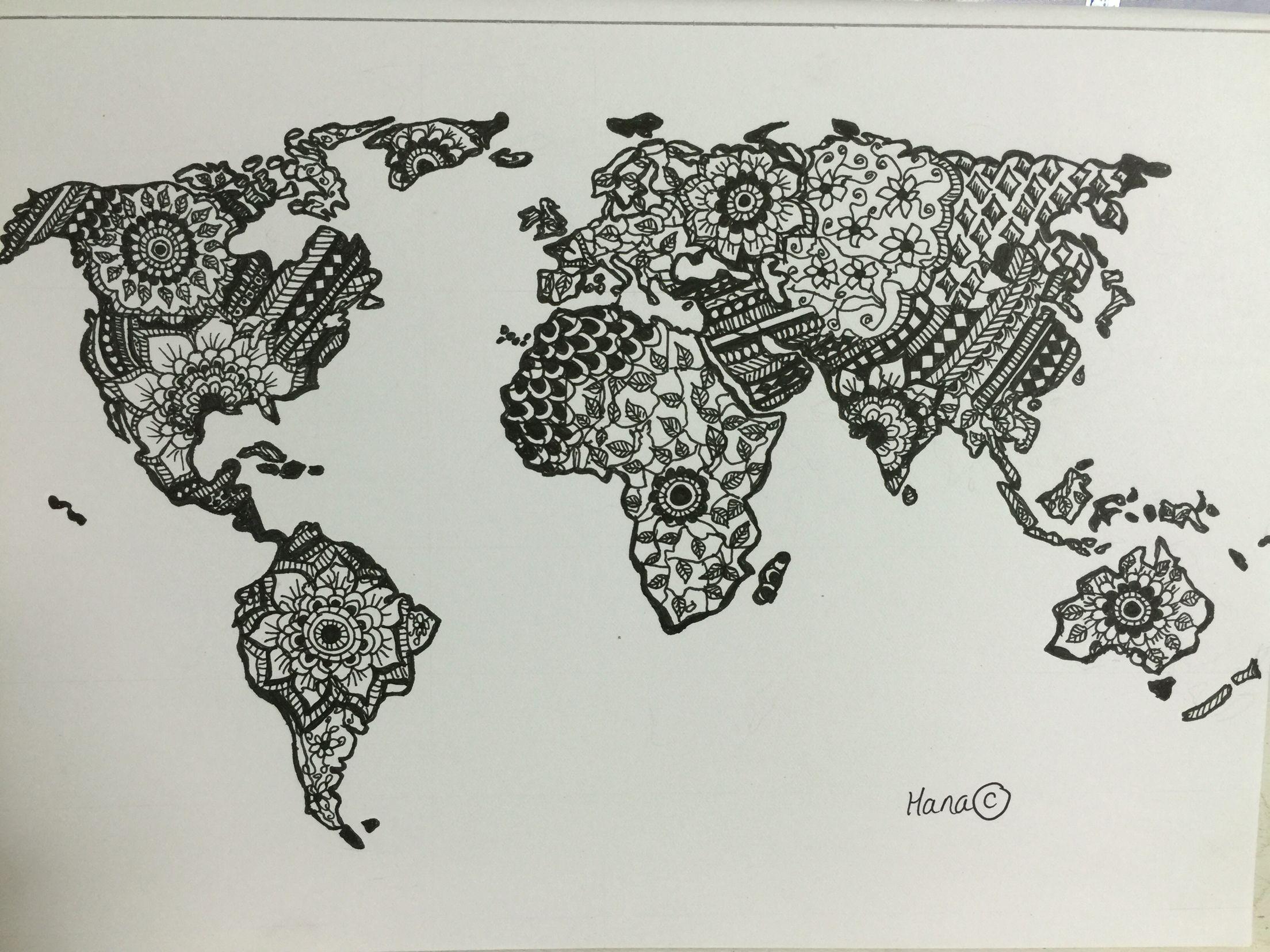 World Map Mandala Adult Colouring Page Original Drawing By Me