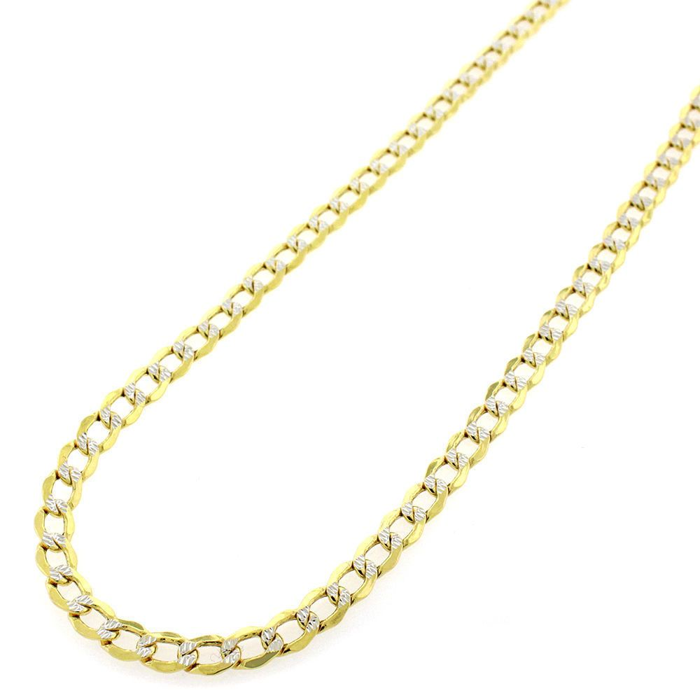 International 14k Two-tone Gold Diamond-cut Cuban Chain Necklace (20-24 inches) (2