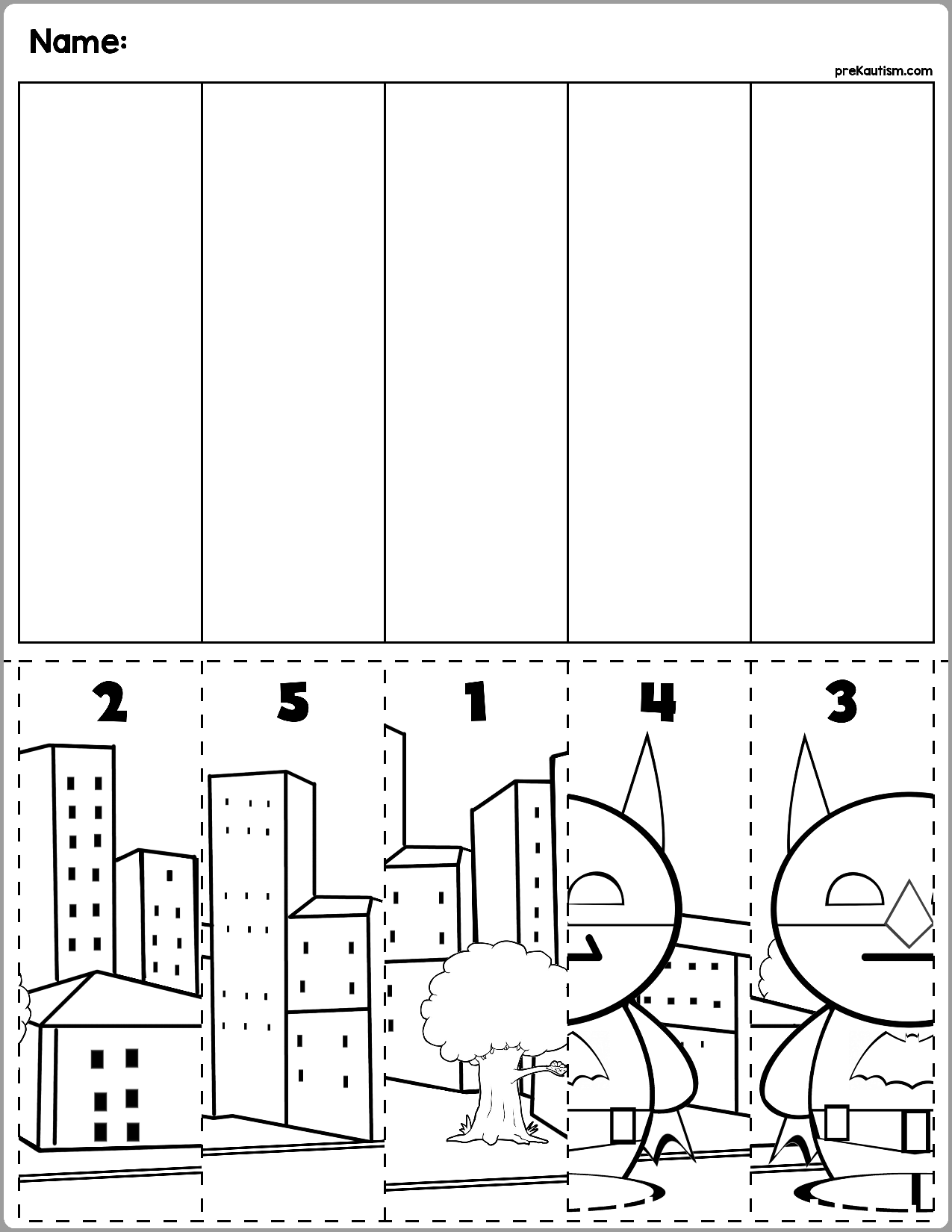 Superhero Scene Number Sequence Puzzles