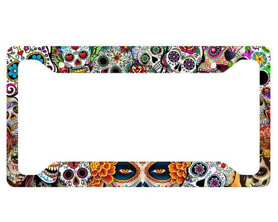 Front License Plate Aluminum License Plate Popular Colorful Skull Antique Auto Tag 6x12 Aluminum Vintage Sign Vanity Tag