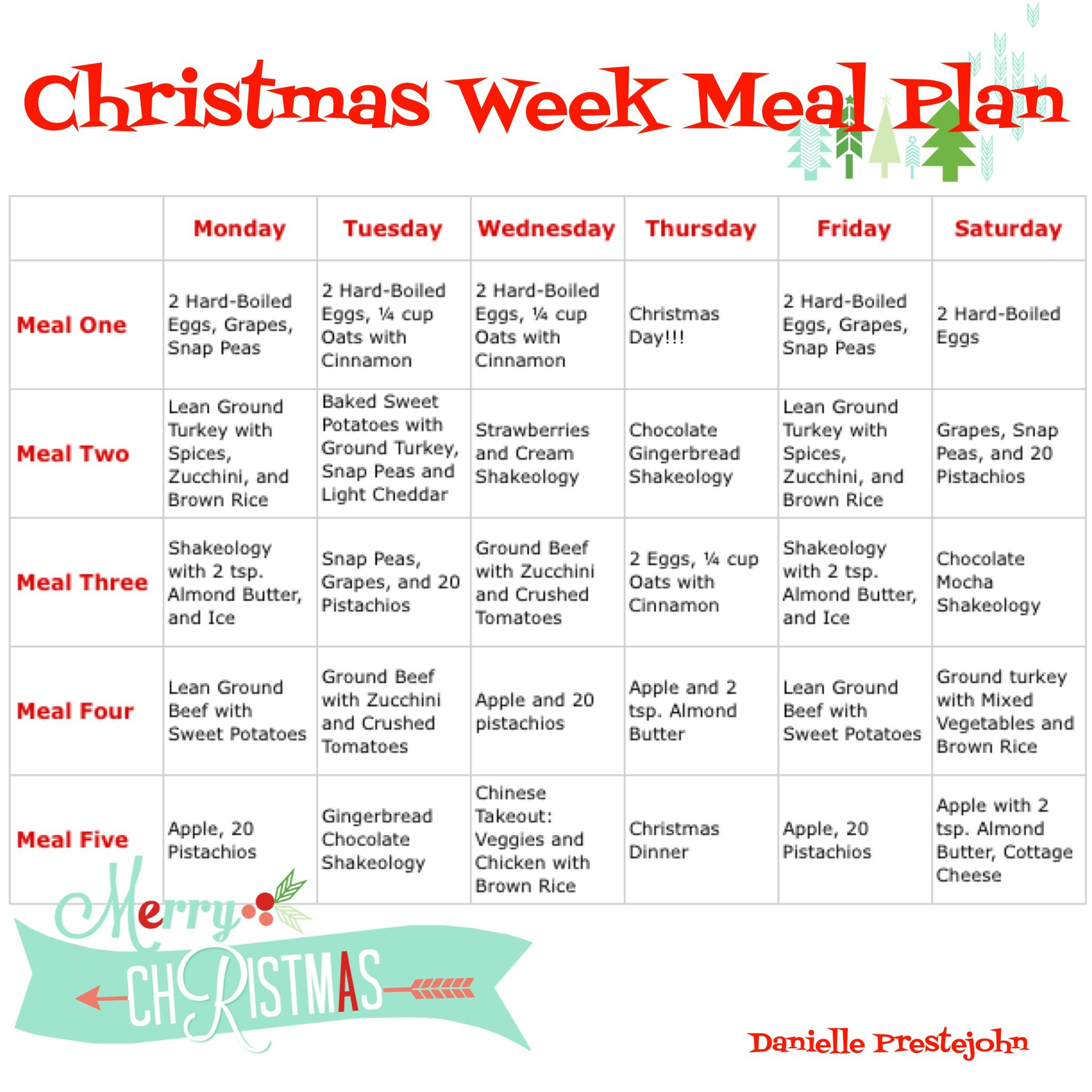 Christmas Week Meal Plan! Prep for Success! | Nutrition & Meal ...
