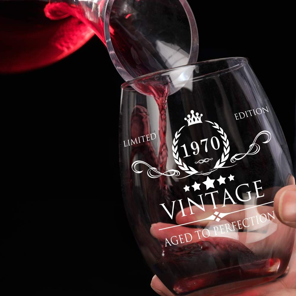 1969 50th Birthday Gifts for Women and Men Wine Glass 50