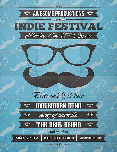 Retro Indie Movember Party Flyer Template  HttpWwwFfflyerCom