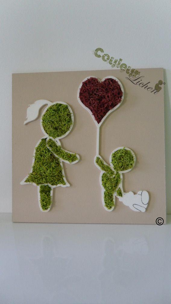 Décoration en lichen pour la chambre d\'enfant, tableau végétal ...