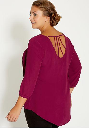4509ca95e0f plus size chiffon blouse with lattice back (original price