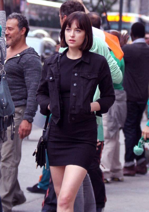 Black bodycon minidress + black denim jacket + probably white sneakers/black converses/doc marts