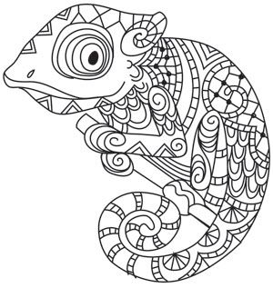 Karma Chameleon Paper Embroidery Animal Coloring Pages Coloring Pages