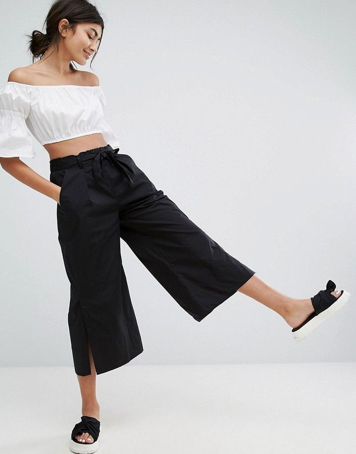 6d518907dad47d Bershka Wide Leg Culotte Trouser With Split Detail
