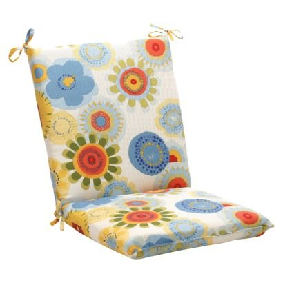 Outdoor Chair Cushion Blue White Yellow Floral Outdoor Chair