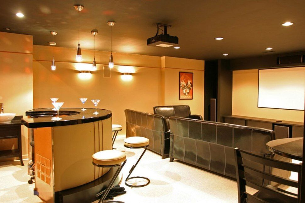 Architecture Wonderful Basement Finishing Ideas Low Ceiling With Mini Bar Feat Granite Countertops And Bar Stools Also Pendant Lighting And Home Theater Room Pl