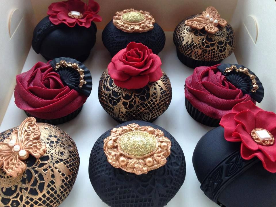Black Red Gold Chocolate Cupcakes Enjoy Rushworld Boards Hello