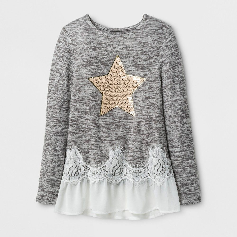 Girlsu miss chievous long sleeve fashion top with sequin star
