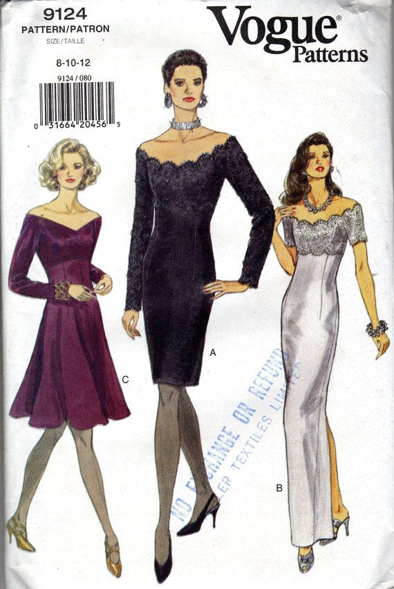 Vogue Sewing Pattern for a Ladies Dress, Evening length or
