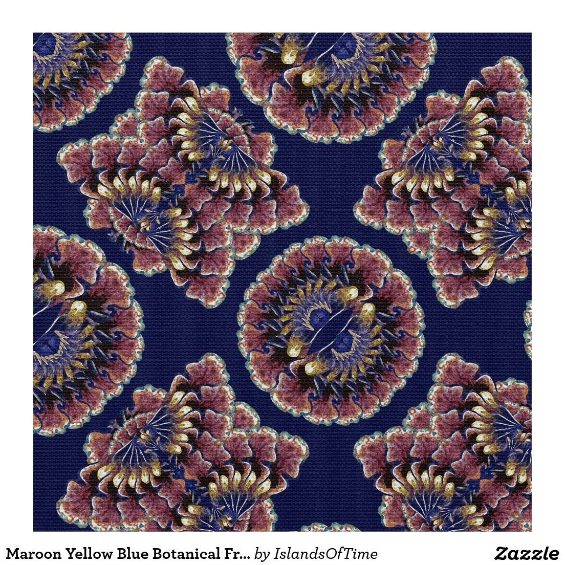 Maroon Yellow Blue Botanical Fractal Art Pattern Fabric  Lovely fabric design. Choose from 7 types of fabric. Order only the yards & widths you need!