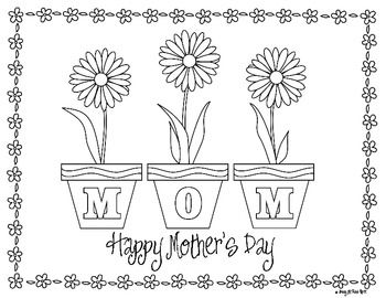 perfect for mothers day here is a free daisy flowers coloring page something quick and easy for a special mom check out my all about my mom set too - Free Mothers Day Coloring Pages