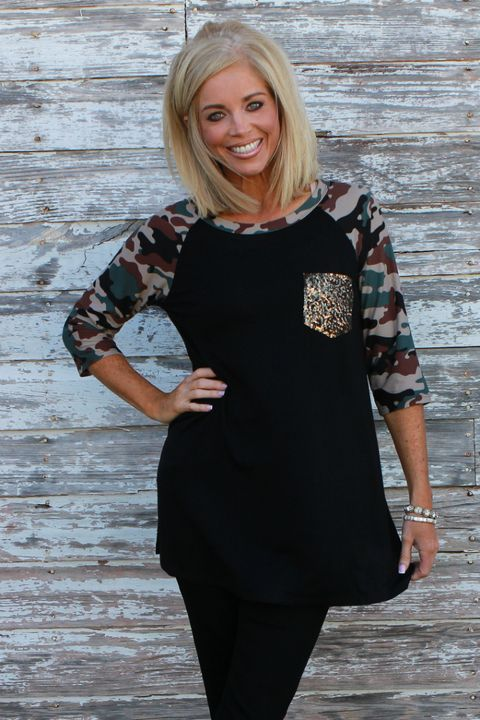 On Military Time Tunic With Camo Sleeves & Sequin Pocket ~ Black ~ Sizes 4-10