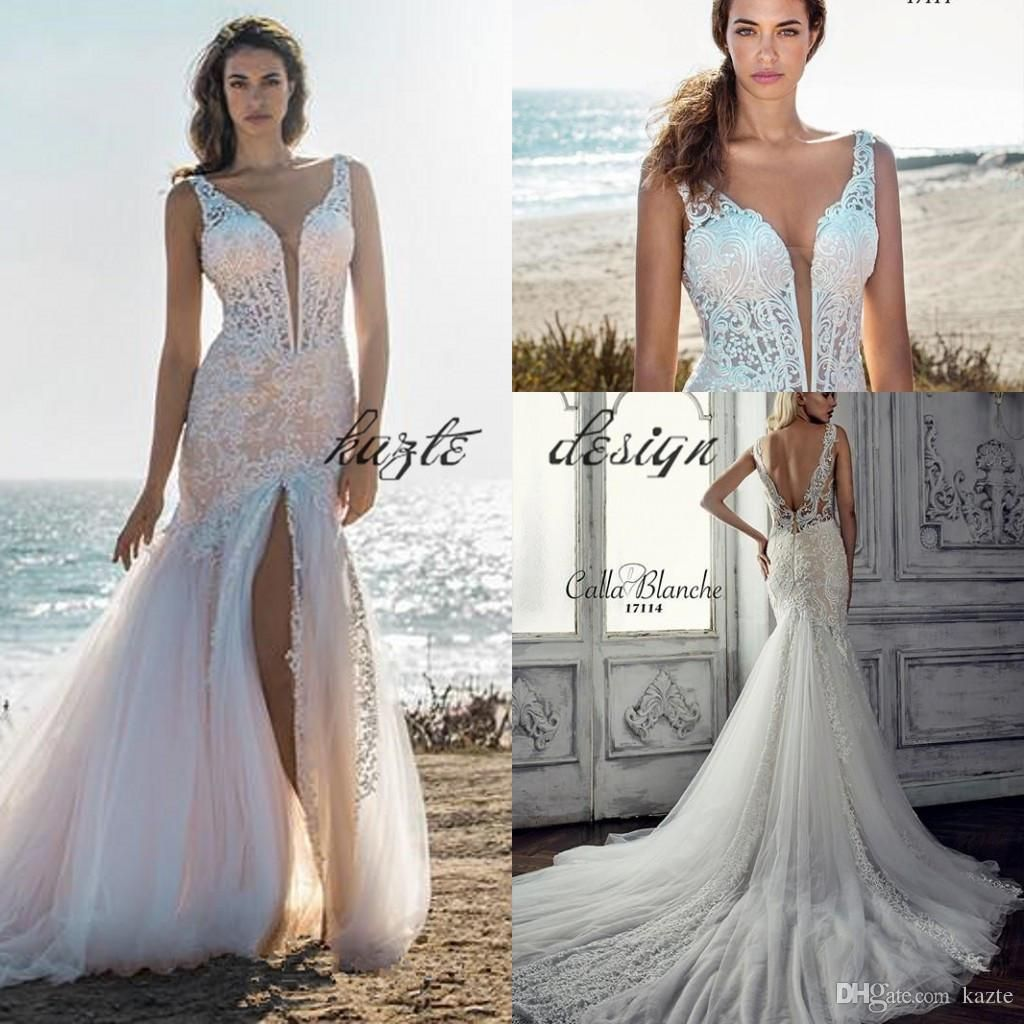 2018 Vintage Lace Wedding Dress Applique High Slit Cap Sleeves Boho Mermaid  Wedding Gowns Tulle Court 53ebb26ae782