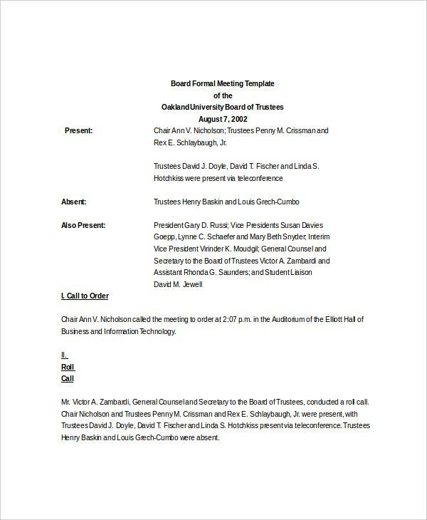 9+ Meeting Agenda Formats Word, Excel  PDF Templates www
