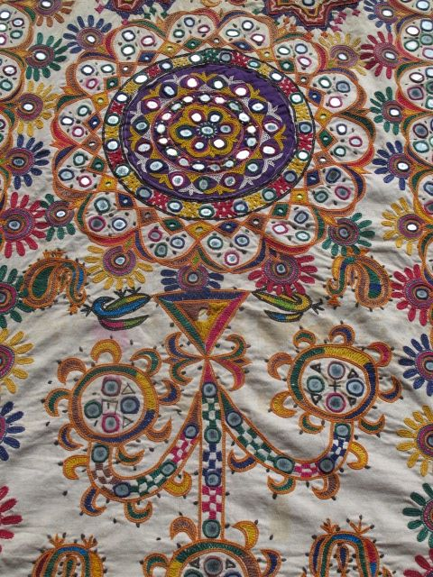 Indian Wall Hang Hand Embroidery And Mirror Embellishment Fabric Art Textile Art Antique Fabrics