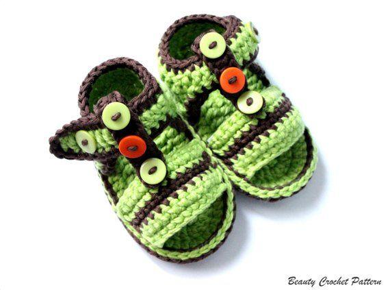 246964c4206d6 Crochet Baby Sandals Pattern, Baby Boy Baby Girl Summer Crochet ...