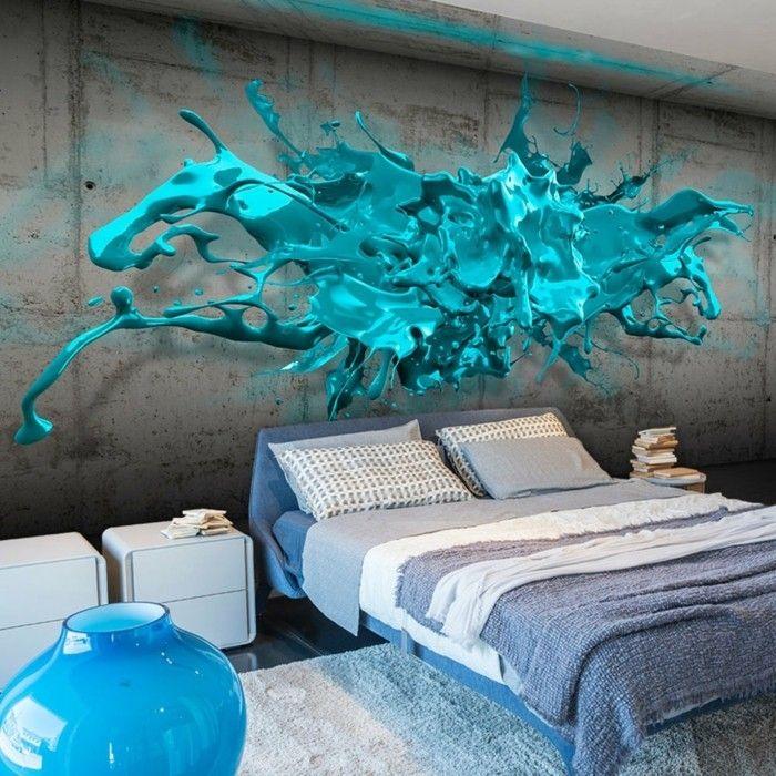 wohnzimmer motiv in blau Wandgestaltung - Tapeten - Fototapeten - wohnzimmer tapete blau