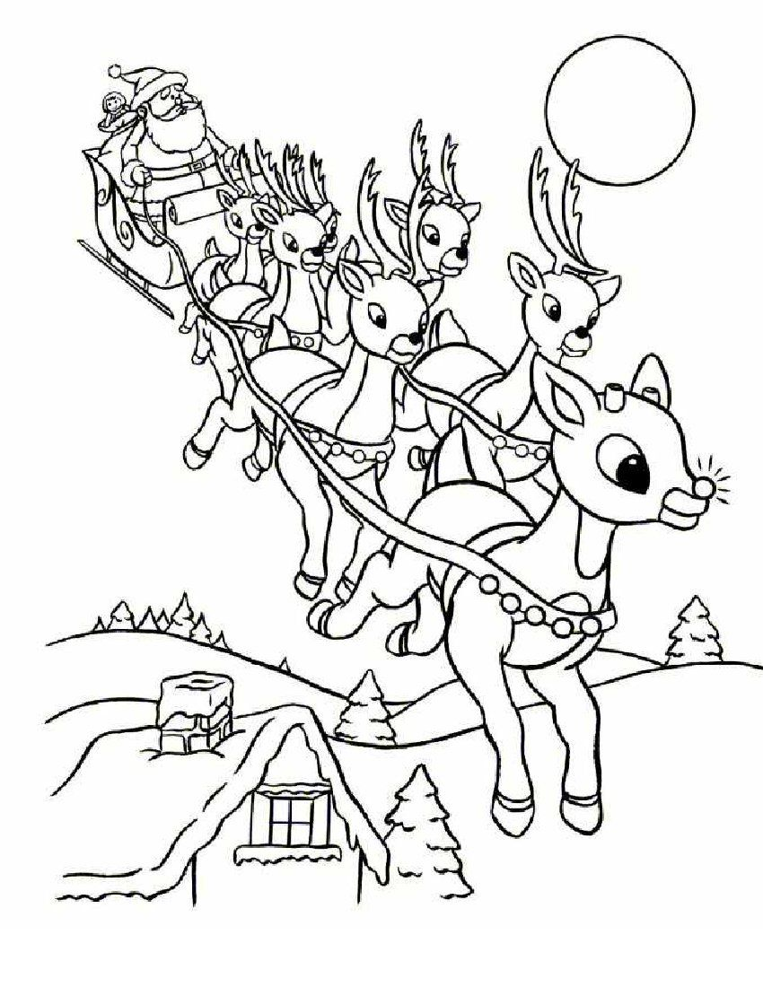 Free coloring pages for christmas printable - Online Rudolph And Other Reindeer Printables And Coloring Pages