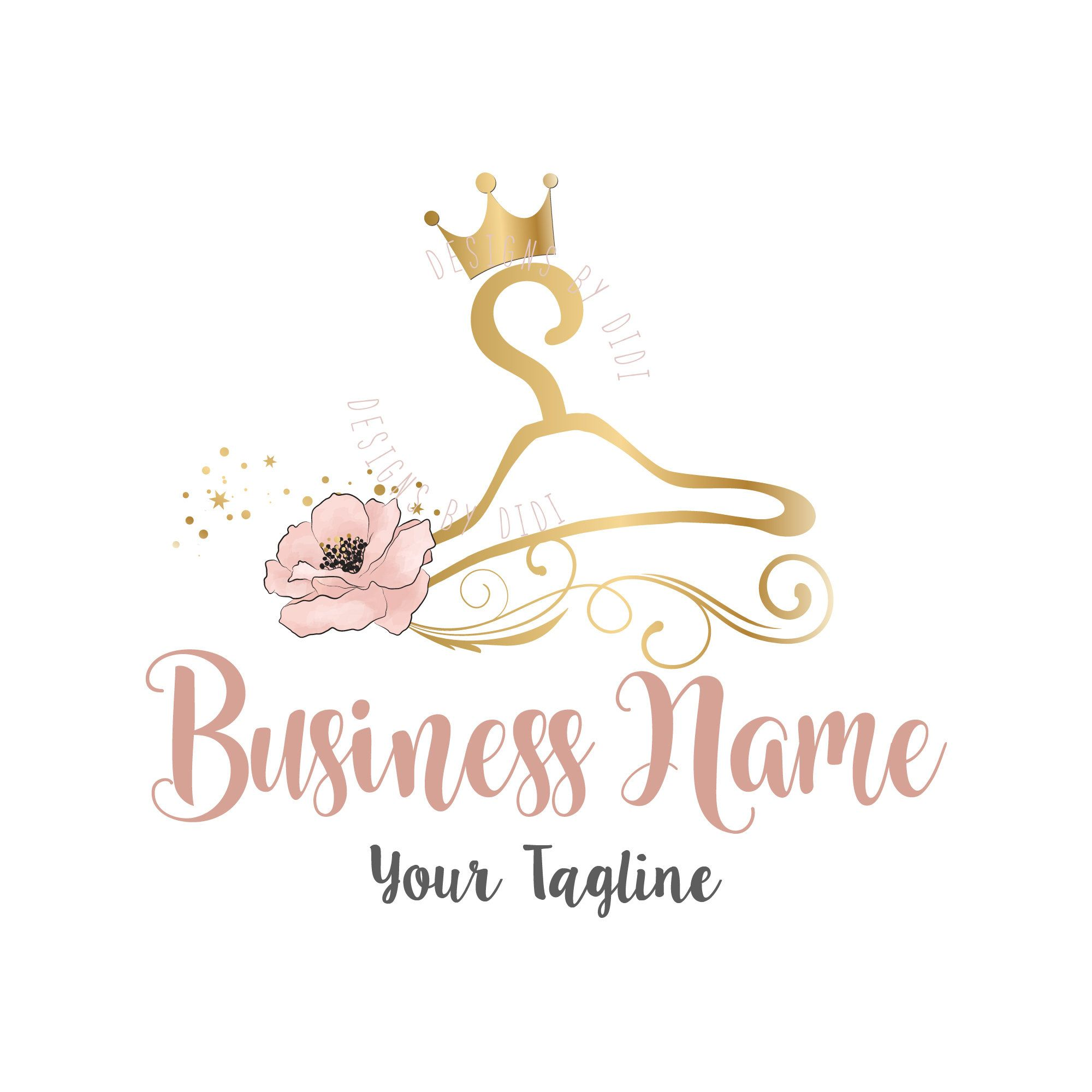 Custom Logo Design Clothes Hanger Fashion Crownhanger Pink Gold Crown S Business