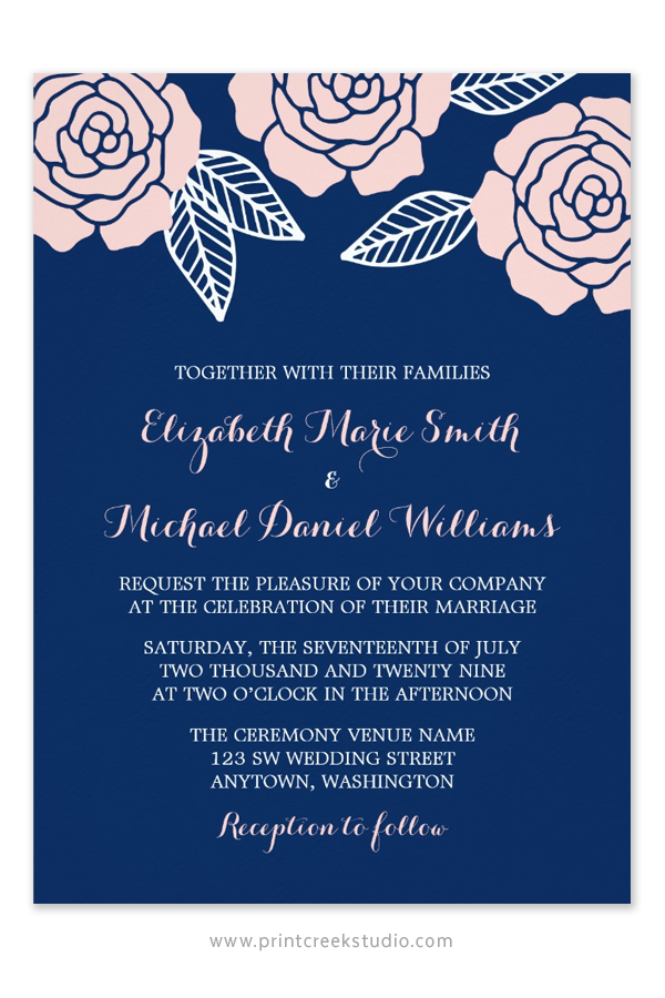 A floral navy and blush pink wedding invitation. Modern roses and ...