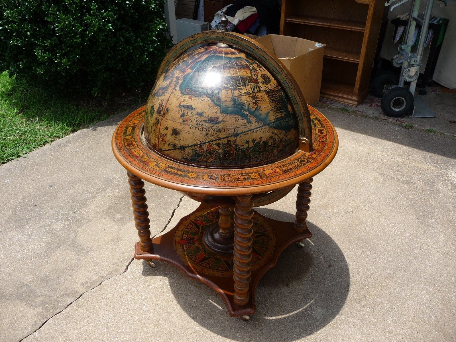 Antique Globe Bar European Painted Walnut Liquor Cocktail Cabinet Cocktail Cabinet Globe Bar Antiques